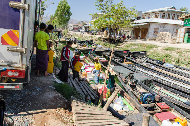 Nyaungshwe is a port town for Inle Lake.