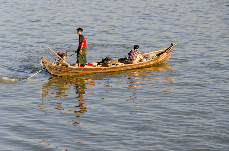 A couple in a typical boat.