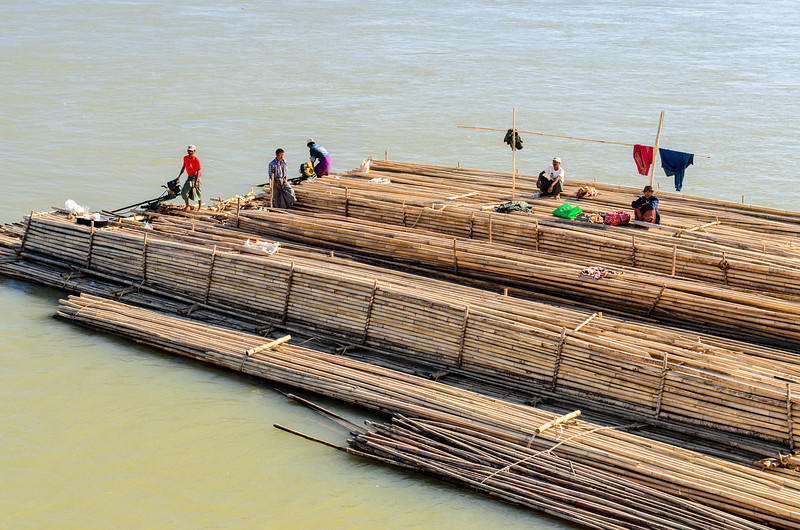 At the destination the bamboo will be sold and I guess the family on the barge will head back upriver.  Bamboo is used for many things from fine lacquerware to scaffolding.