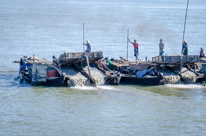Gold-dredging on the Irrawaddy.
