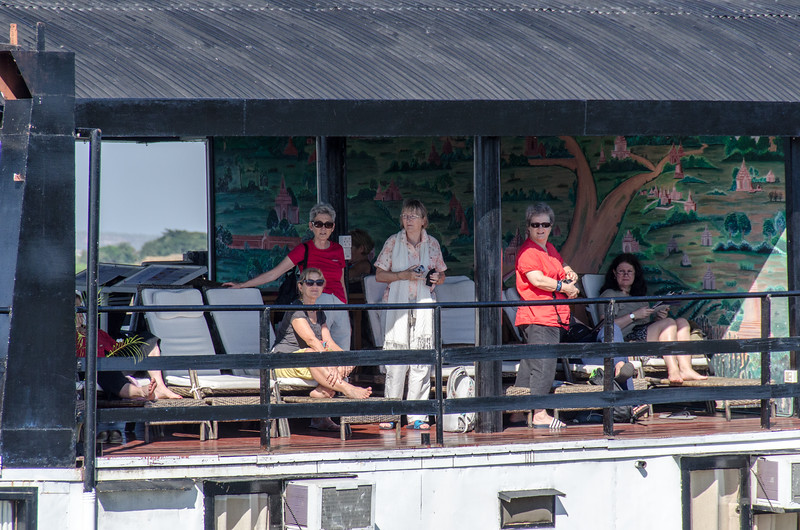 Passengers relaxing on the Irrawaddy Princess II.