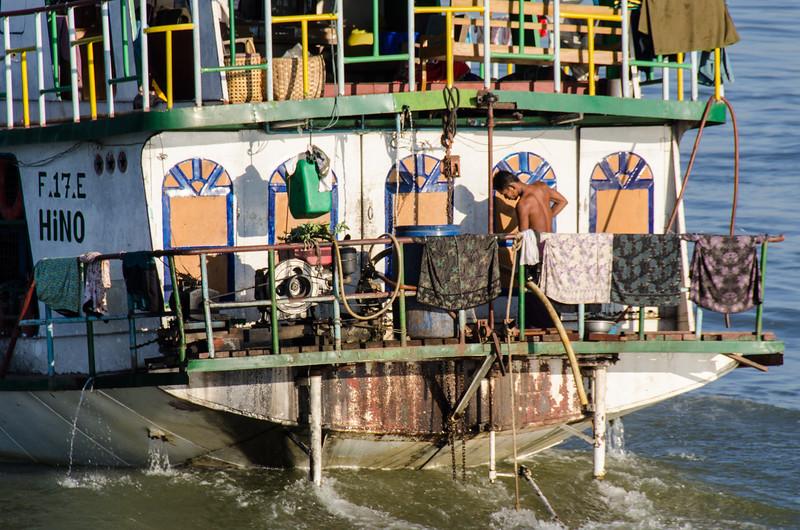 Bathing on the stern.