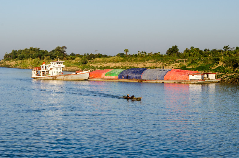 A barge along the shore.