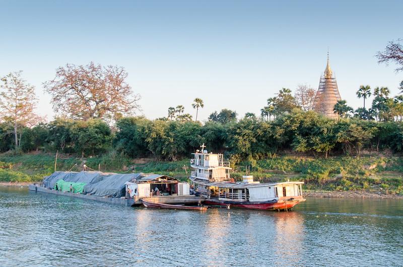 Barge and stupa.