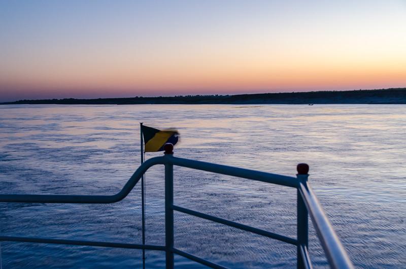 Pre-dawn twilight on the Irrawaddy.