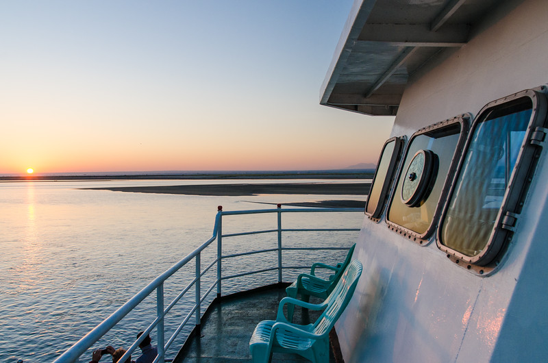 We had taveled quite a distance before the sun rose.  For quite a while we were chugging along with just the ships spotlights to go by.