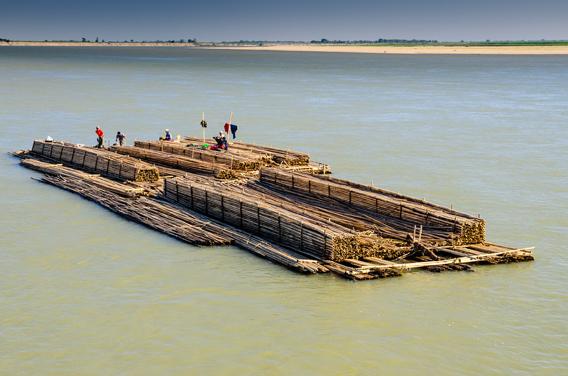 A barge of bamboo headed down river.  The barge IS the cargo.