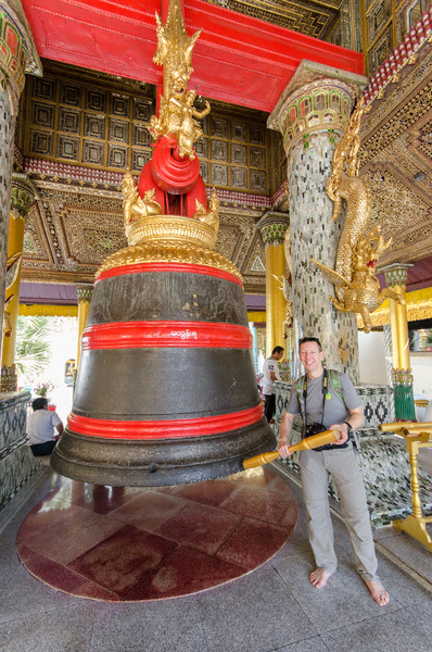 Tony ringing King Tharyarwady's Bell, cast and donated in 1841.