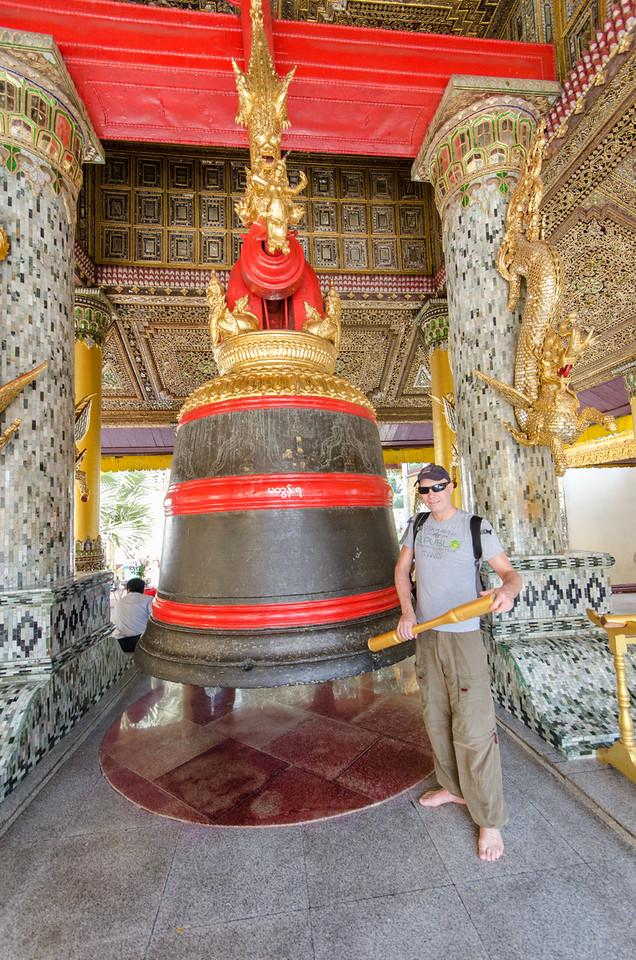 Tim rings King Tharyarwady's bell, it weighs 42,000 kilos!
