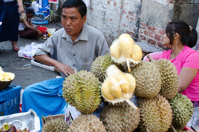 Love or hate it, this is the Durian fruit at the Bogyoke Aung San Market.