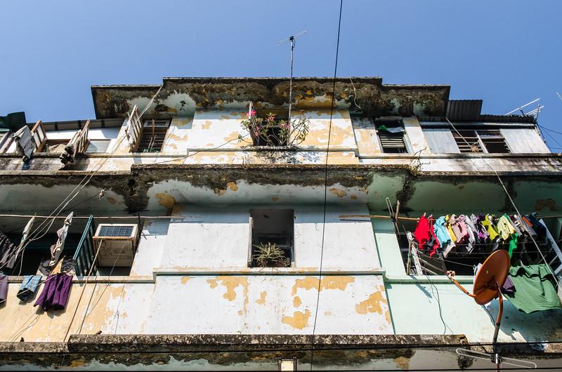 Yangon apartment building.
