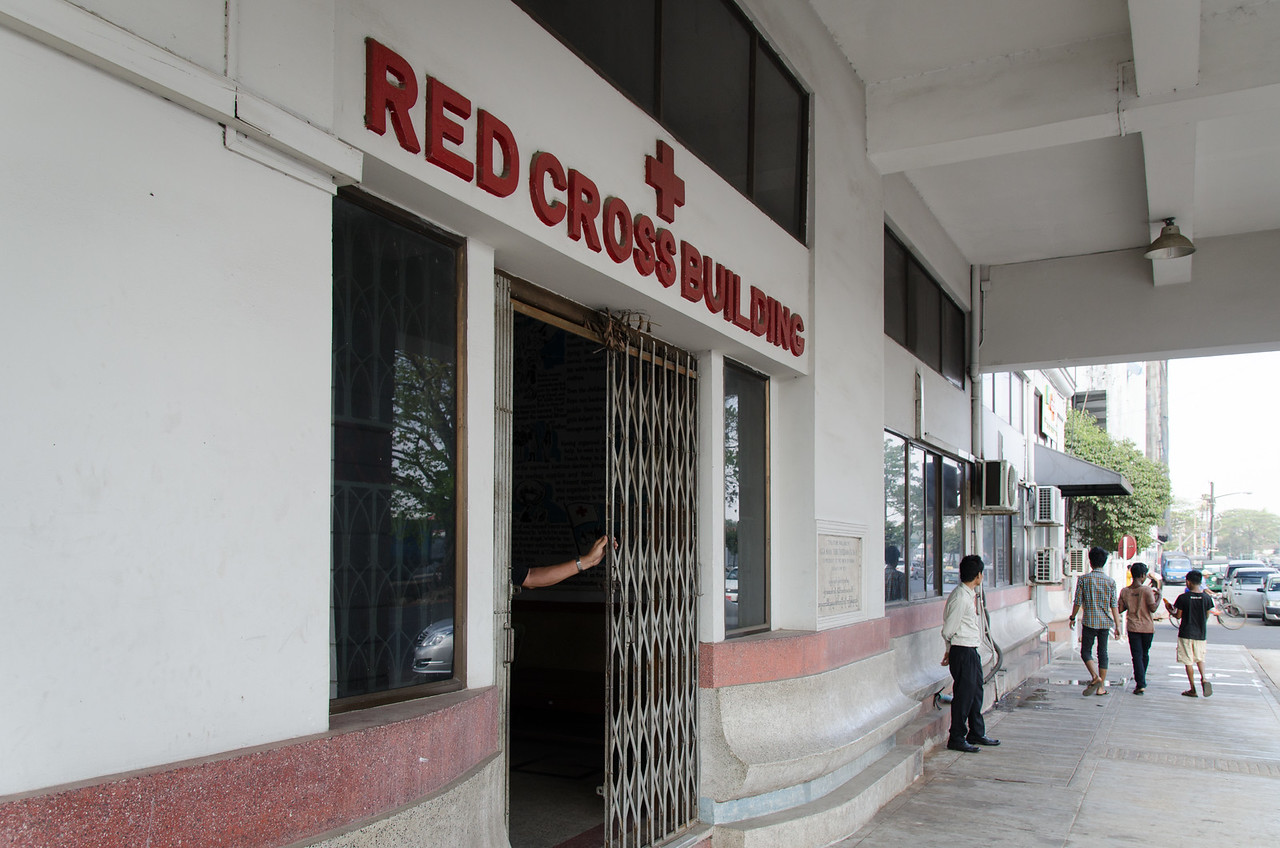 The Red Cross building in Yangon.