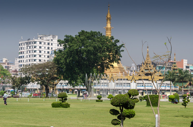 A view of the Sule Pagoda from across Maha Bandola Garden.