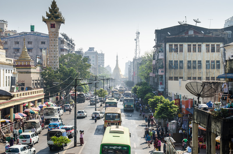 The streets of Yangon.
