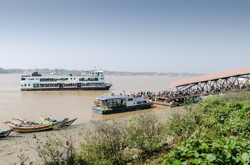 The Pansodan Ferry terminal on the Yangon River.