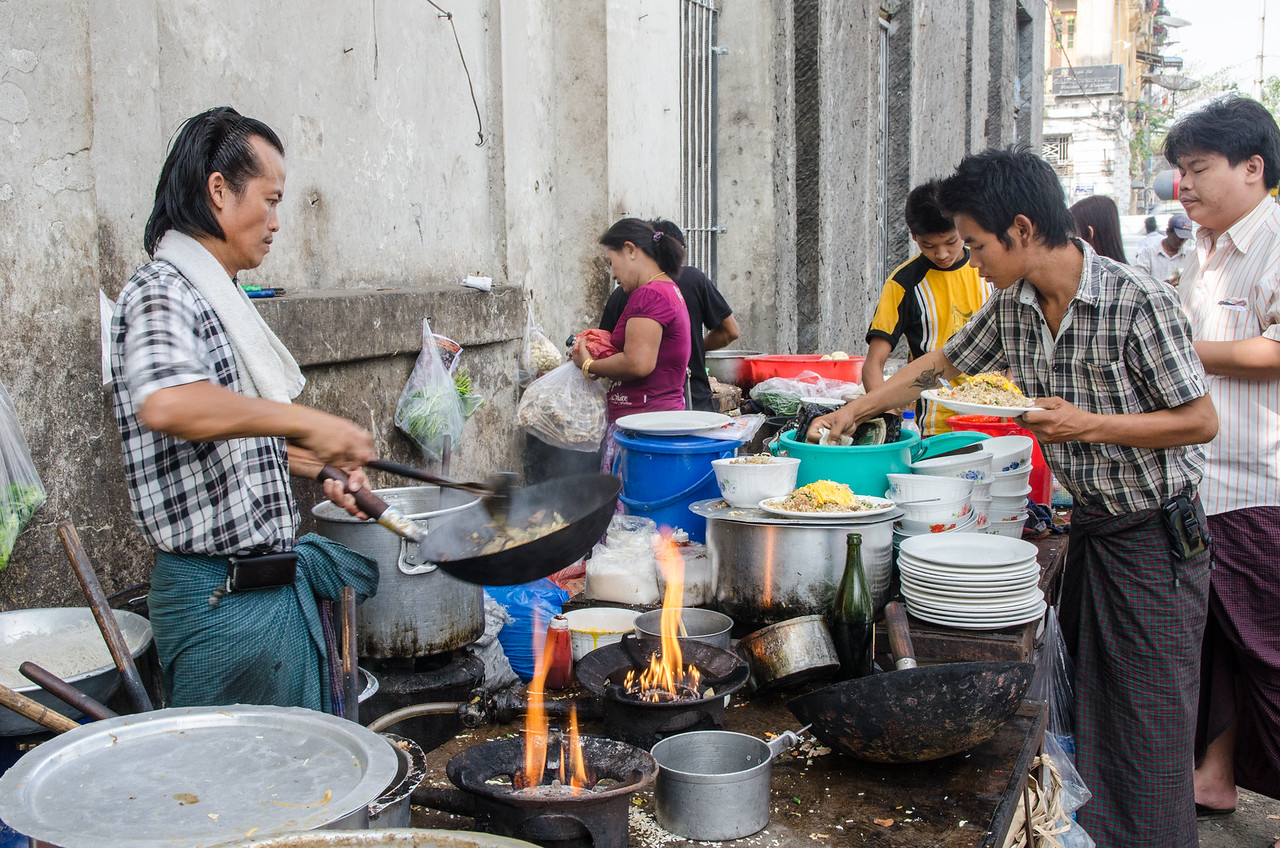 People are cooking and eating all the time.