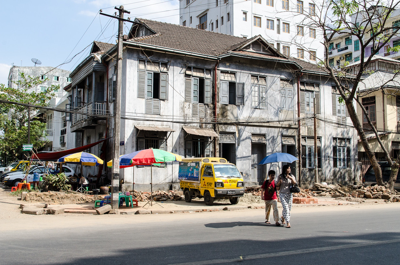 A crumbling old Colonial era house in Yangon.  There are many of these.