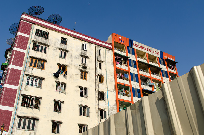 Typical apartment building in Yangon.