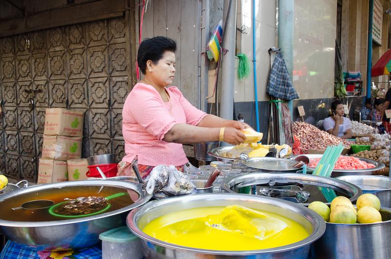 Fruit and juice vendor.