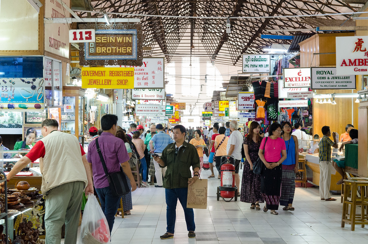The main hall of the Bogyoke Aung San Market or Scott's Market.
