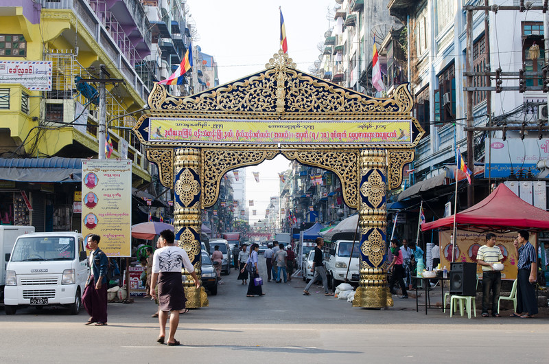 The entrance to one of the main market streets in Yangon.