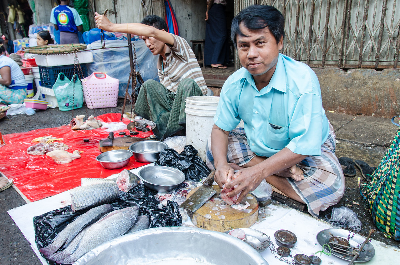 Seafood vendor in Yangon.