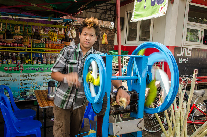 A young man makes some sugar cane juice, this is very popular.