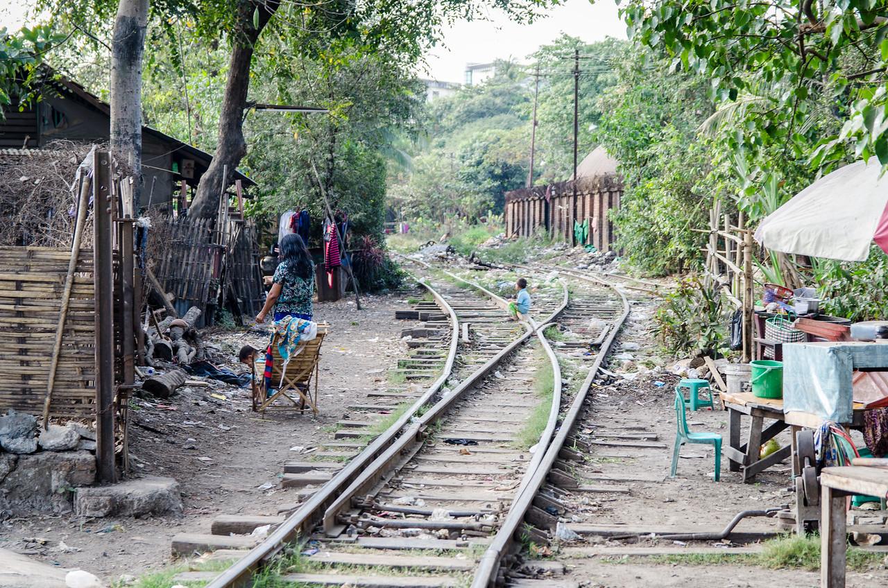 The Yangon Circle Line train tracks in the Botahtaung neighborhood.