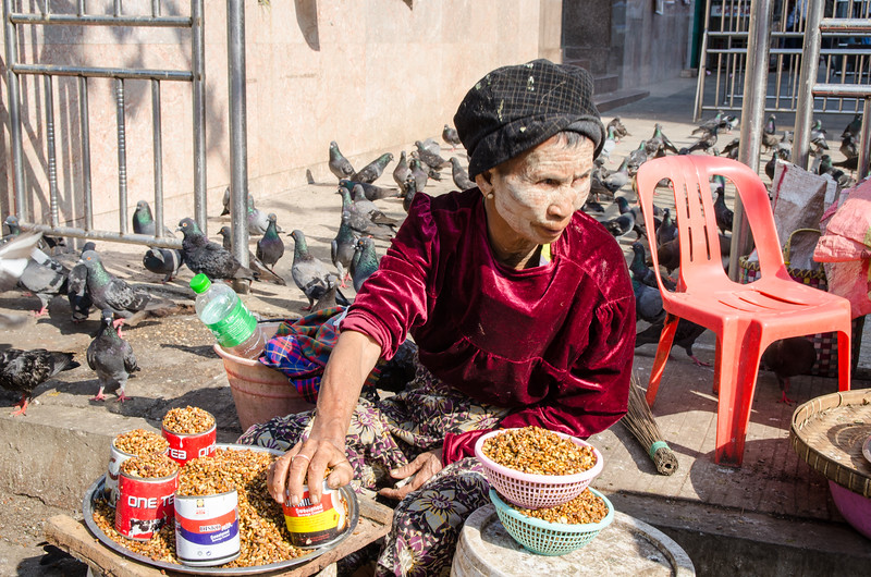Woman selling pigeon food, because you can't have too many pigeons.