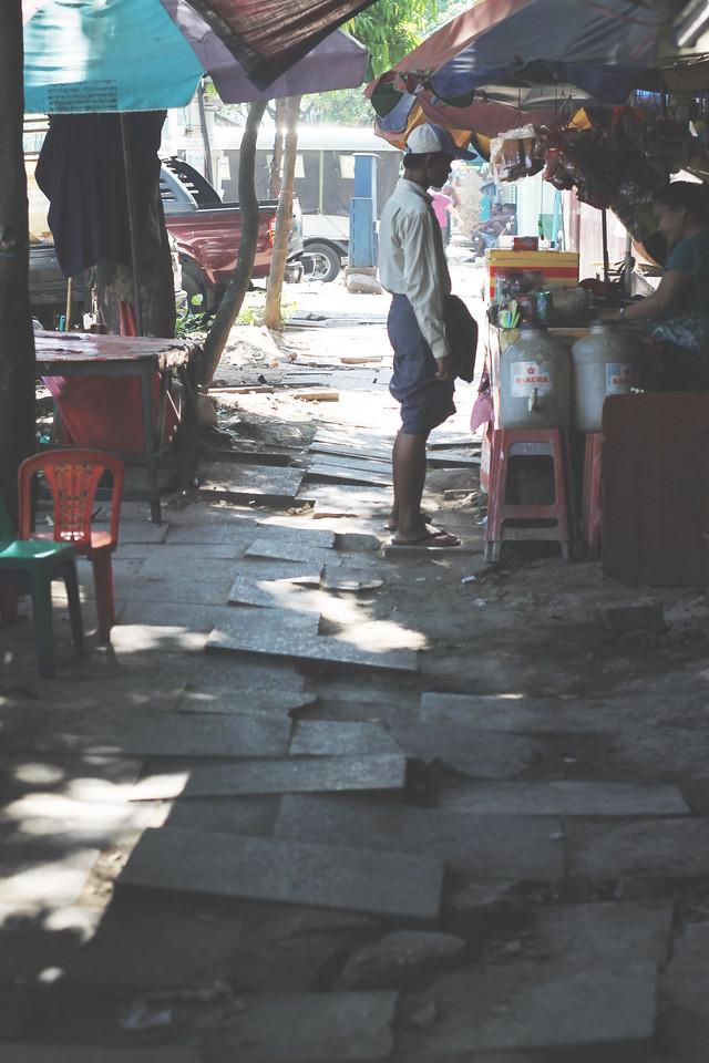 Street vendors in Yangon. April 2015