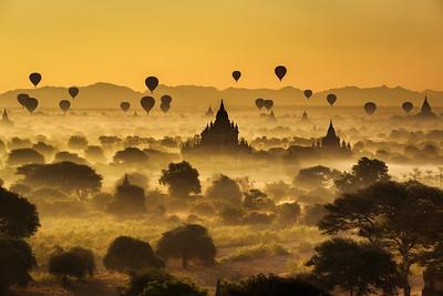 Scenic sunrise above Bagan in Myanmar
