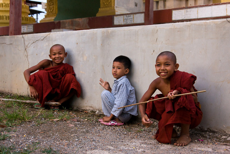 Two young monks and a friend within their monastery.<br /> <br /> Location: Nyaungshwe, Myanmar<br /> <br /> Lens used: 24-105mm f4.0 IS