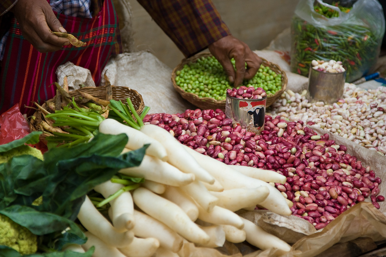 Legumes and veggies at a market stall.<br /> <br /> Location: Nyaungshwe, Myanmar<br /> <br /> Lens used: 24-105mm f4.0 IS