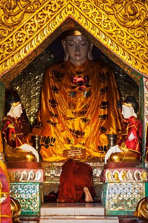 Buddhist monk praying in Shwedagon pagoda