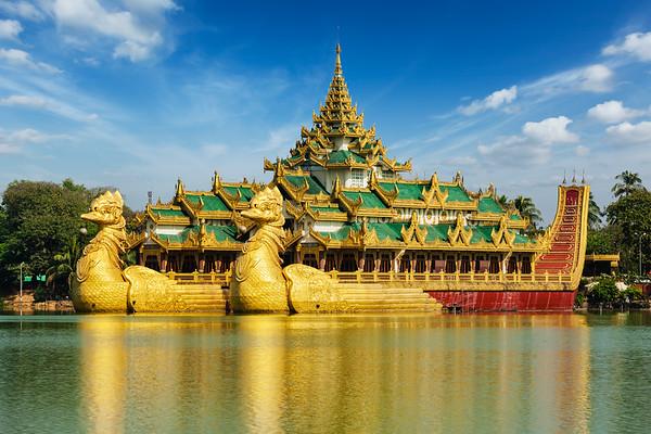 Karaweik - replica of a Burmese royal barge at Kandawgyi Lake, Yangon, Burma (Myanmar)