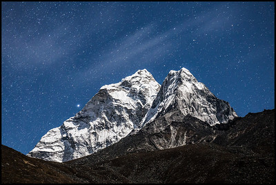 Moonlit views of Ama Dablam from Dingboche