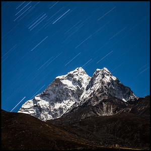Star trails over Ama Dablam, Dingboche
