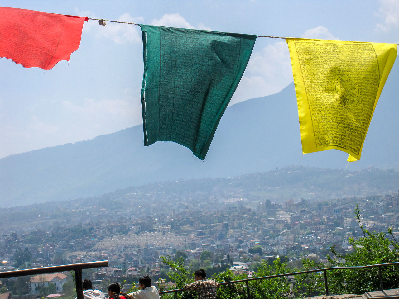 Prayer flags from the view at Swayambhunath temple