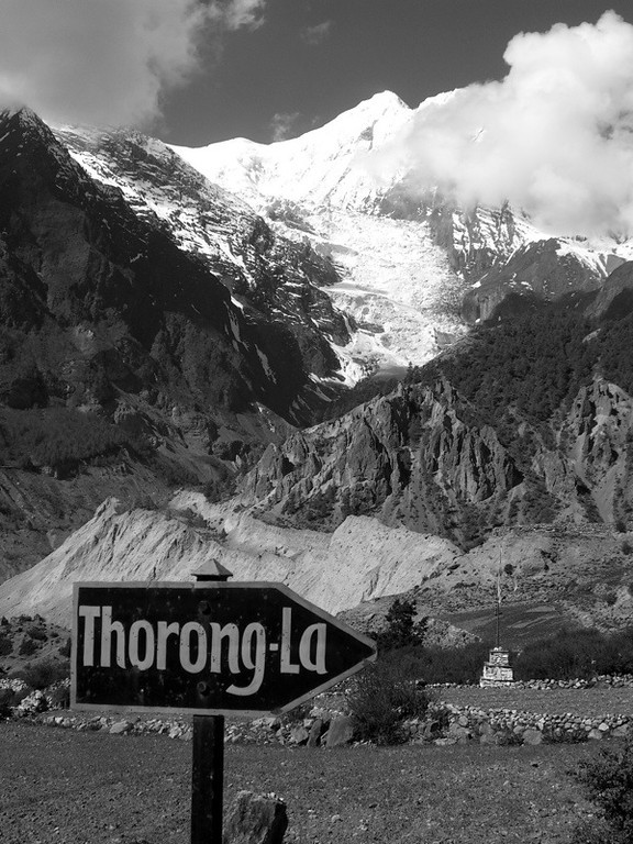 Sign to Thorong La - Manang, Nepal