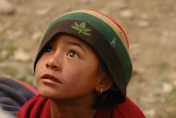 Nepali Child in Hat - Annapurna Circuit, Nepal