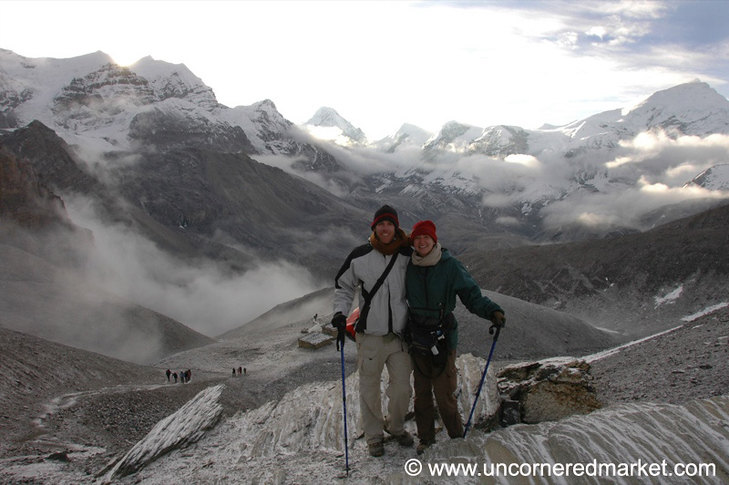 Audrey and Dan at Thorong La - Annapurna Circuit, Nepal