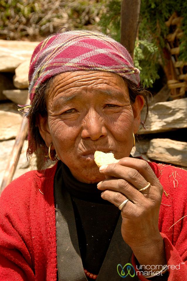 Enjoying a Biscuit - Annapurna Circuit, Nepal