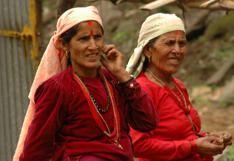 Nepali Women in Red - Annapurna Circuit, Nepal