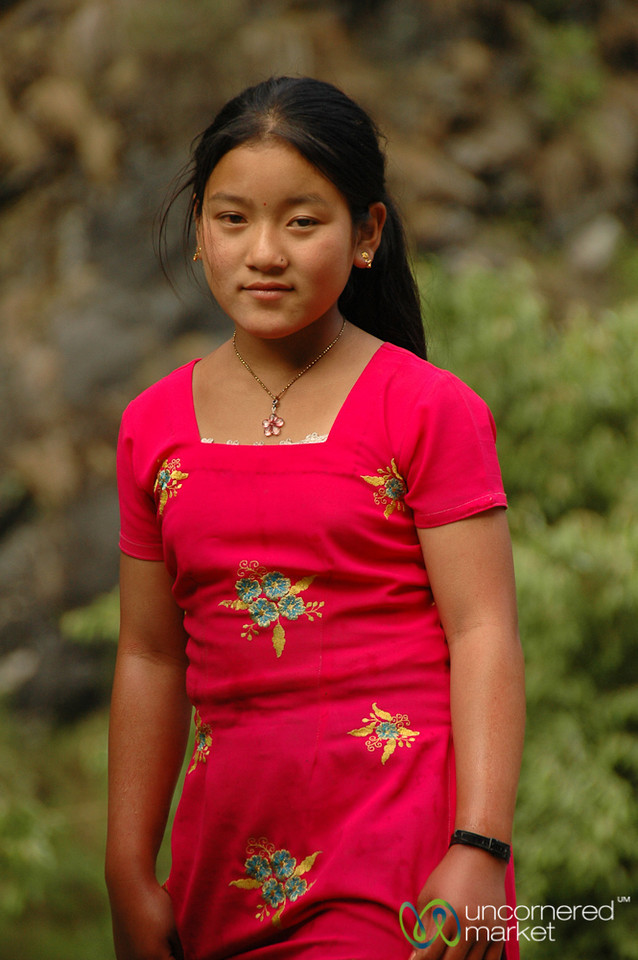 Colorful Dress, Serious Look - Annapurna Circuit, Nepal