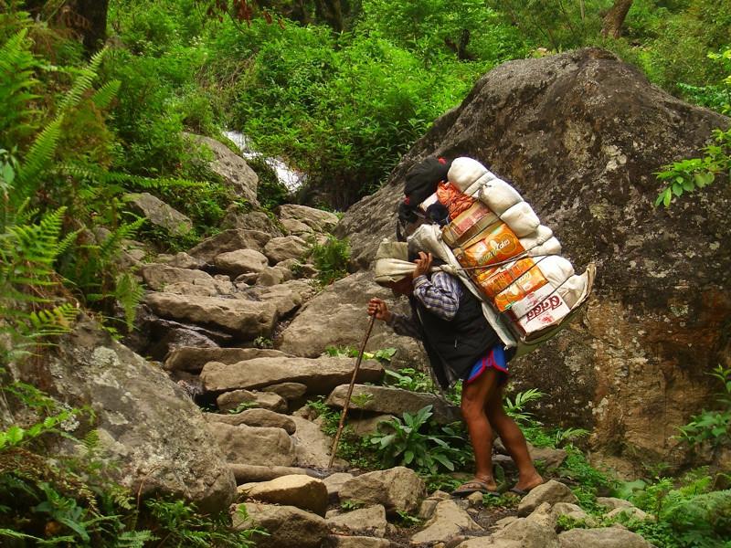 Porter Carrying Food Supplies - Annapurna Circuit, Nepal