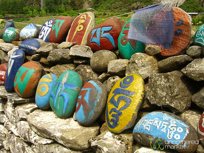 Colorfully Painted Rocks with Buddhist Prayer - Annapurna Circuit, Nepal