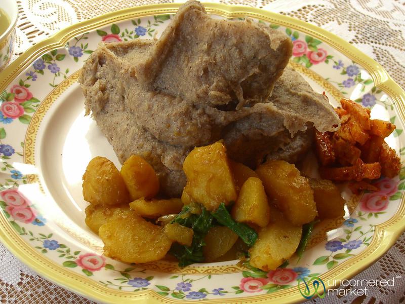 Meal Mush & Veggies for Lunch - Annapurna Circuit, Nepal