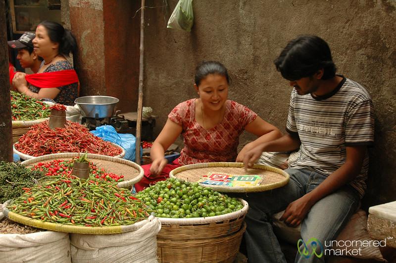 Game Time at the Market - Kathmandu, Nepal