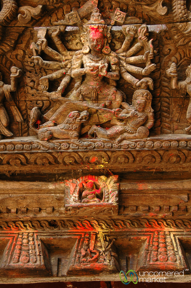 Details Along the Temples in Durbar Square - Kathmandu, Nepal