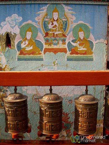 Prayer Wheels and Paintings - Bodhnath, Nepal